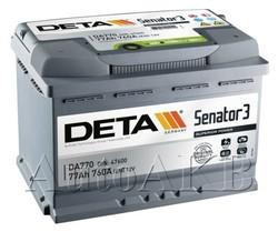 Аккумулятор автомобильный Deta Senator 77 Ач обр. 77А/ч 760А обр. 278x175x190