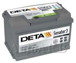 Аккумулятор автомобильный Deta Senator 72 Ач обр. 72А/ч 720А обр. 278x175x175