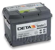 Аккумулятор автомобильный Deta Senator 60 Ач обр. 60А/ч 600А обр. 242x175x175